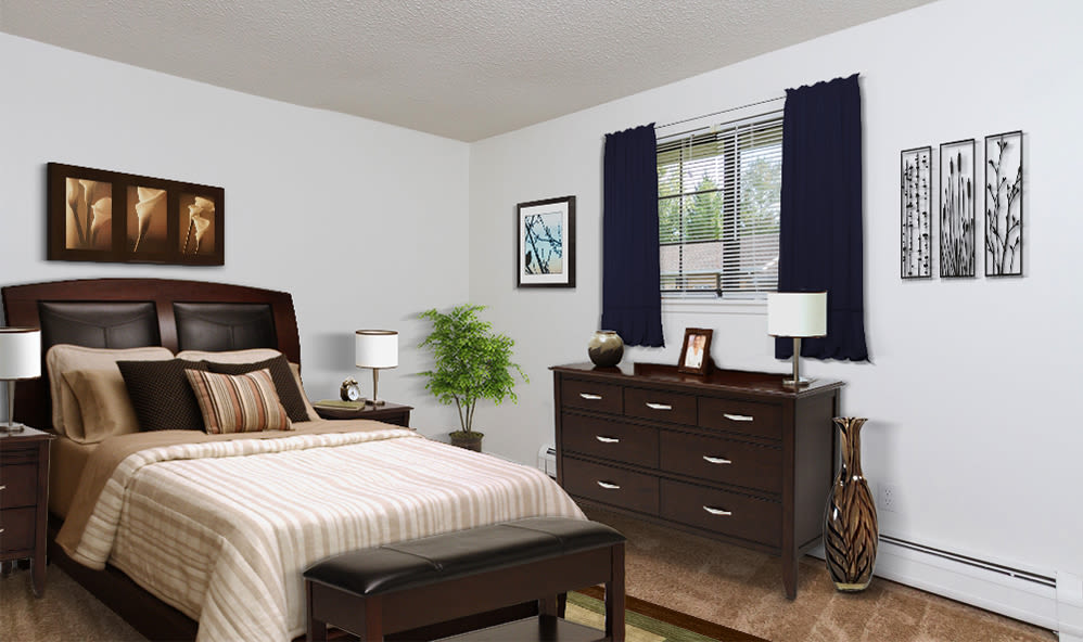 Master bedroom at Creek Hill Apartments in Webster, New York
