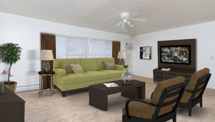 Spacious living room with a ceiling fan at Creek Hill Apartments in Webster, New York