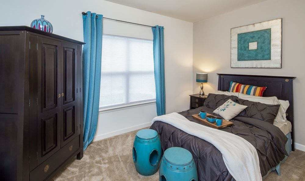 Well decorated master bedroom at Crescent at Wolfchase in Memphis, Tennessee