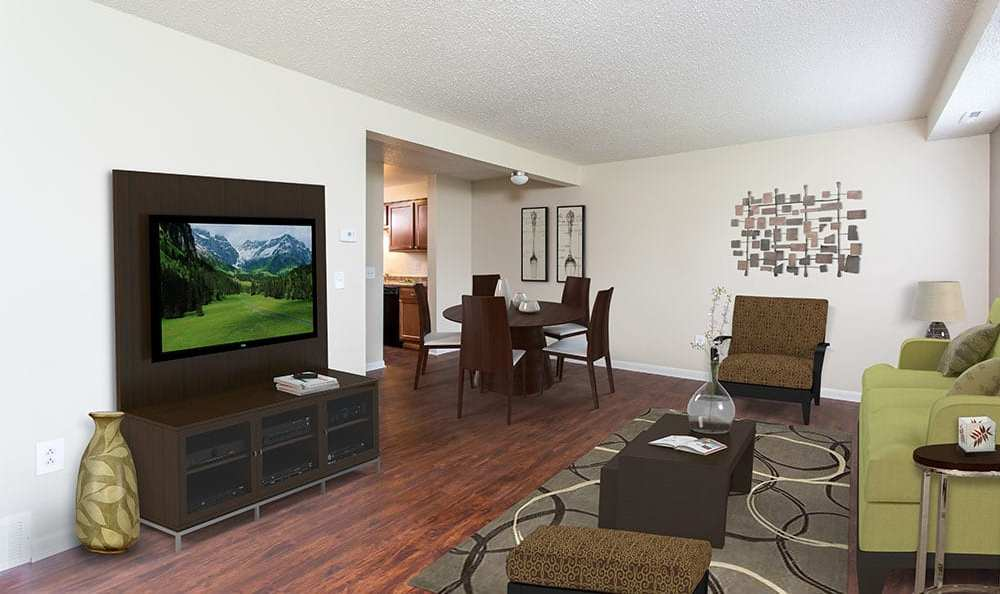Living room at Crossroads Apartments in Spencerport, New York