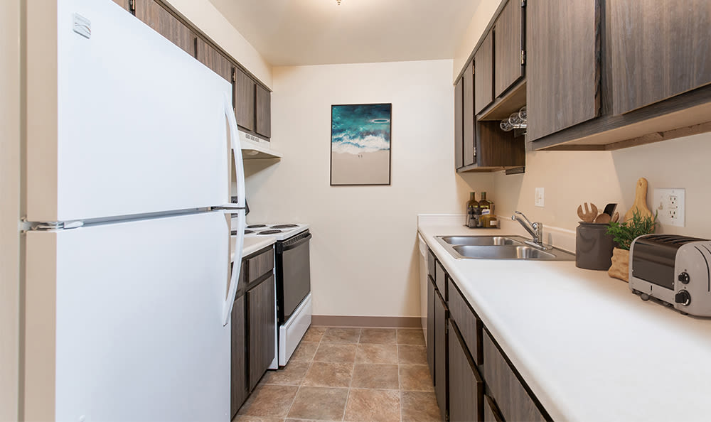 Spacious kitchen at Crossroads Apartments in Spencerport, New York