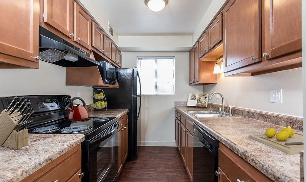 Bright, spacious kitchen at Crossroads Apartments in Spencerport, New York