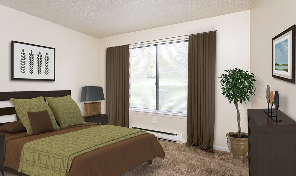 Bedroom with a view at Crossroads Apartments in Spencerport, New York