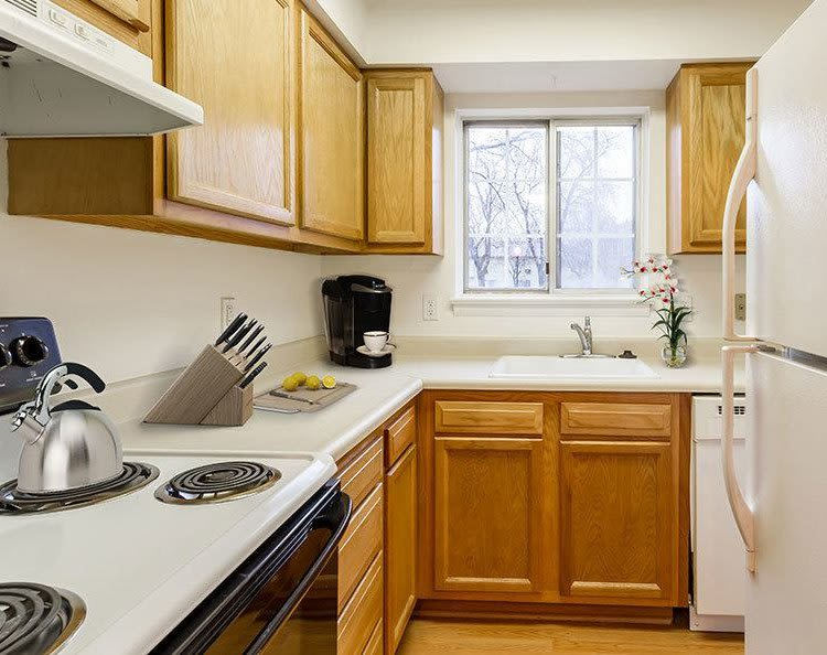 Bright, upgraded kitchen at Elmwood Terrace Apartments & Townhomes in Rochester, New York