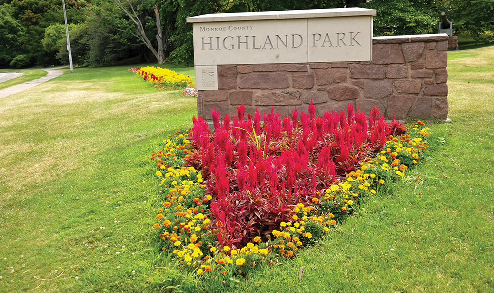 Lush landscaping at Elmwood Terrace Apartments & Townhomes in Rochester, New York