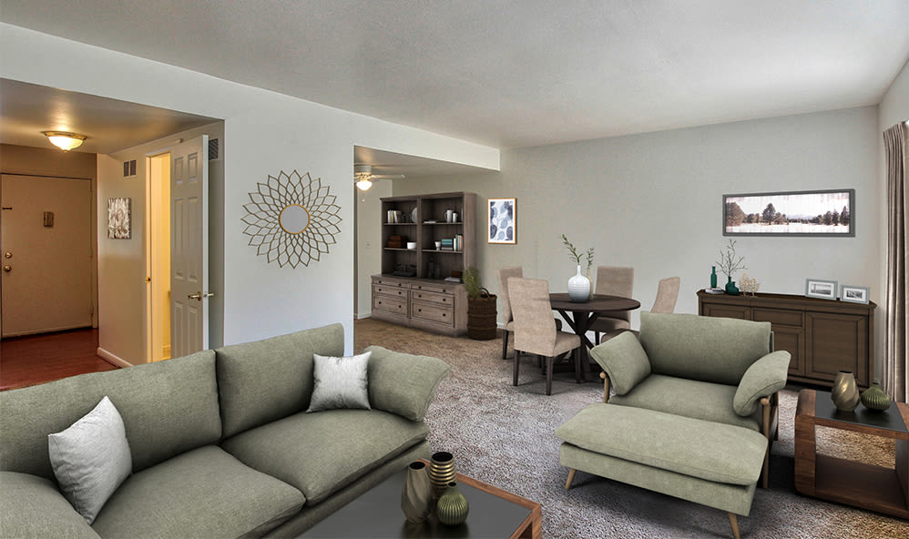 Beautiful living room at Elmwood Terrace Apartments & Townhomes in Rochester, New York