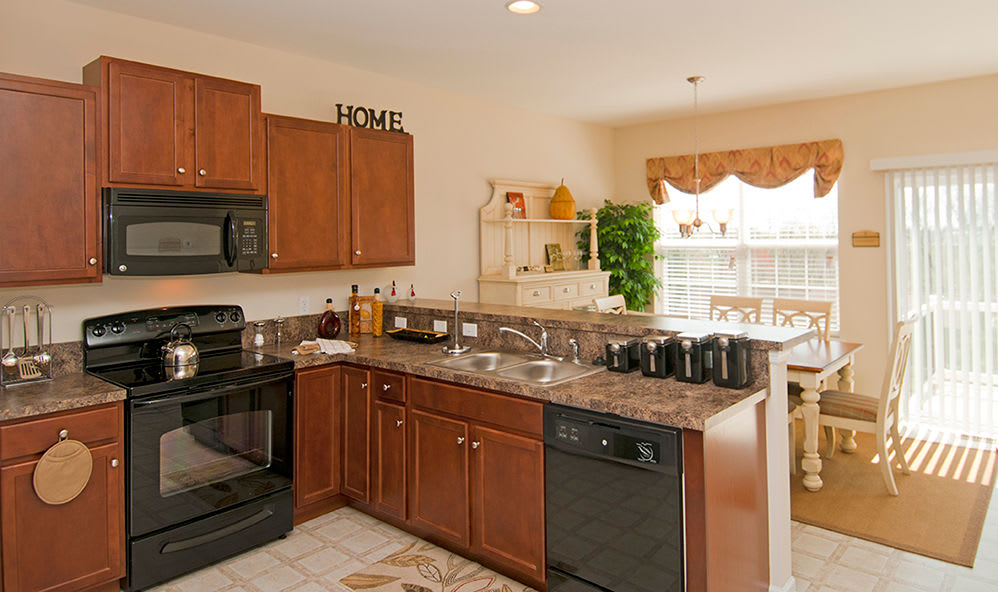 Bright, spacious kitchen at Emerald Pointe Townhomes in Harrisburg, Pennsylvania
