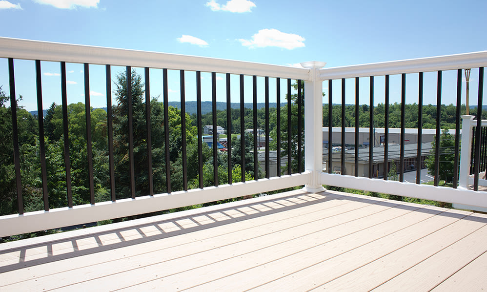 Private balcony at Emerald Pointe Townhomes in Harrisburg, Pennsylvania
