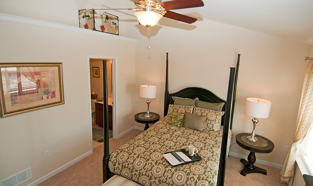 Cozy bedroom at Emerald Pointe Townhomes in Harrisburg, Pennsylvania