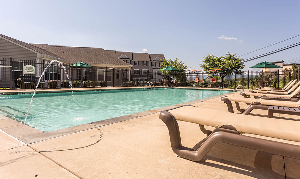 Sparkling swimming pool at Emerald Pointe Townhomes in Harrisburg, Pennsylvania