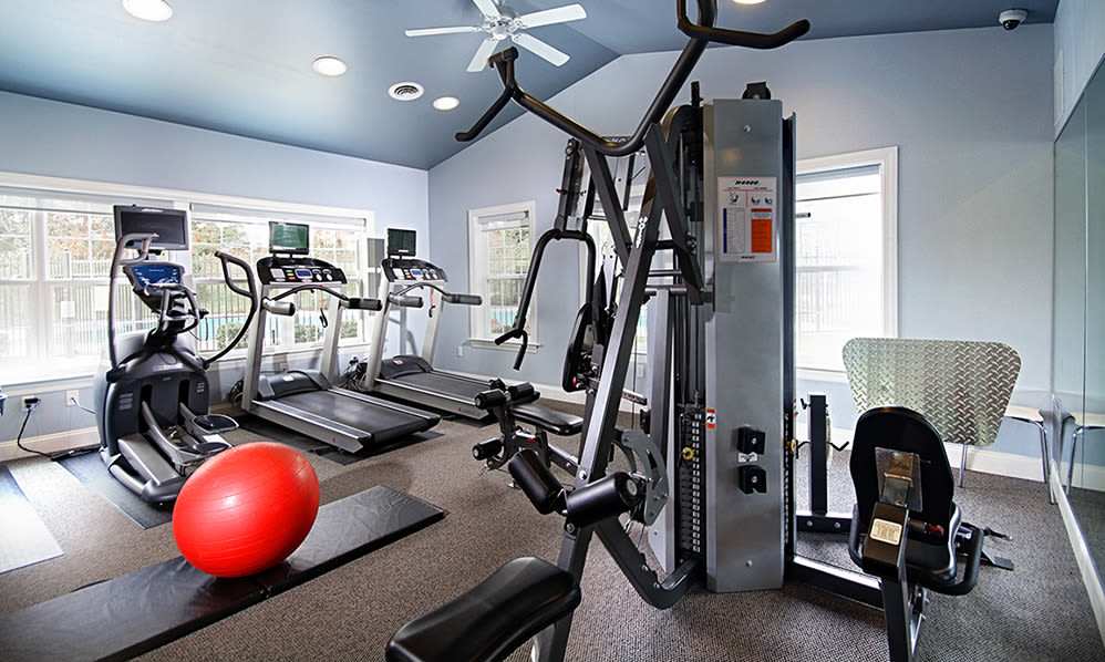Well equipped fitness center at Emerald Pointe Townhomes in Harrisburg, Pennsylvania