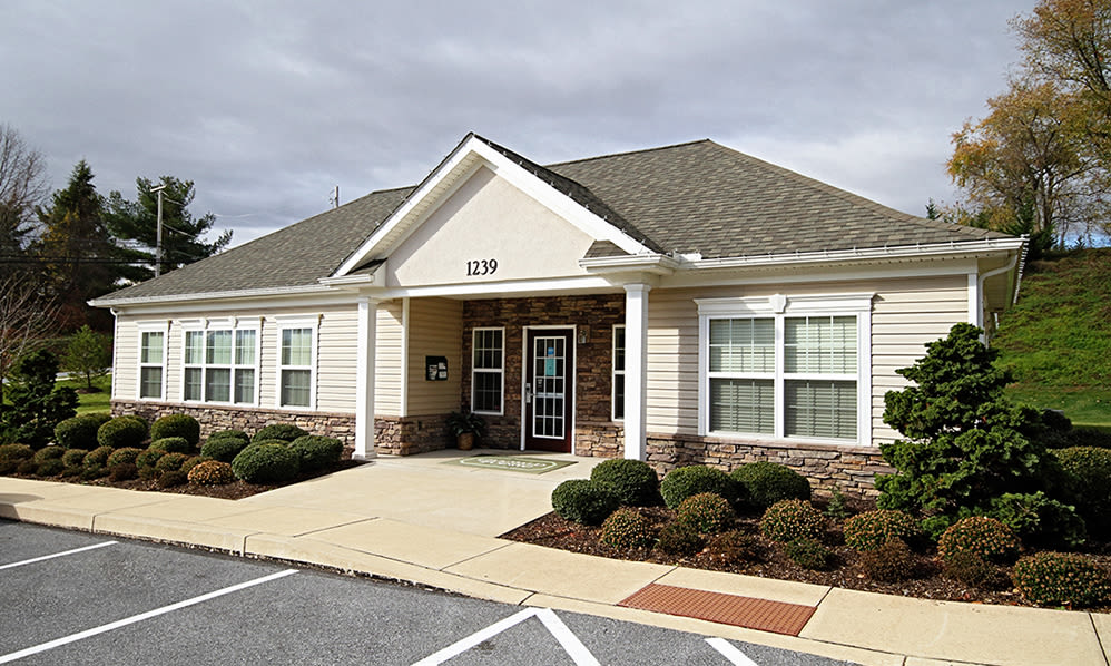 Exterior of clubhouse at Emerald Pointe Townhomes in Harrisburg, Pennsylvania