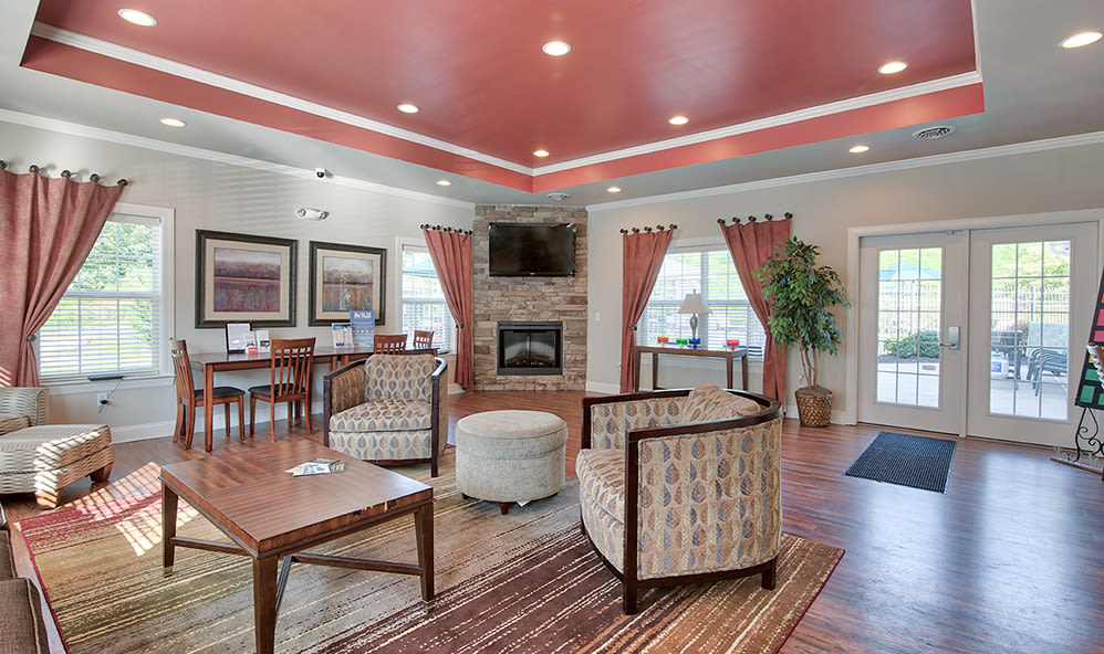 Modern clubhouse at Emerald Pointe Townhomes in Harrisburg, Pennsylvania