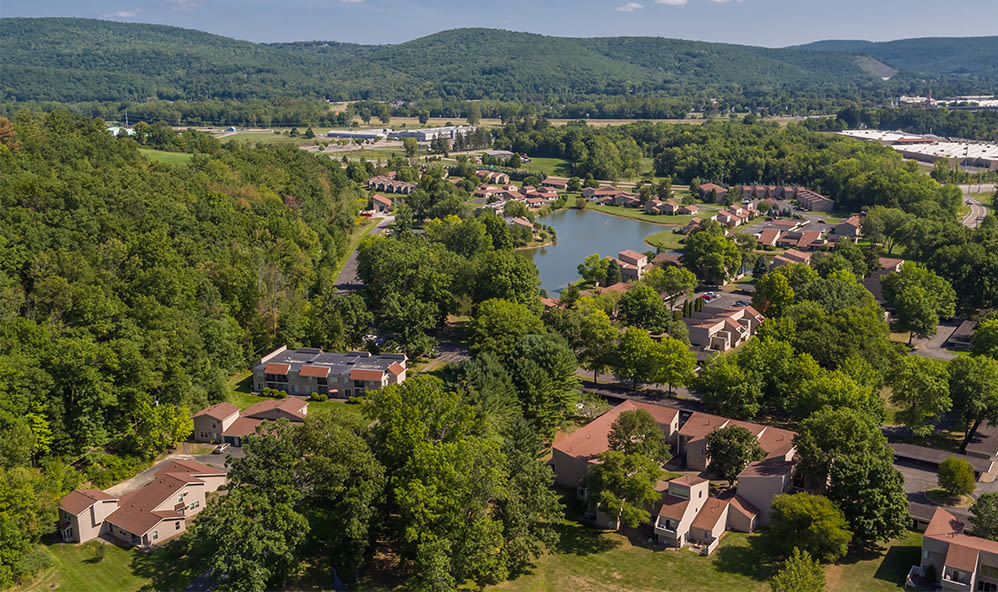 Aerial view of Emerald Springs Apartments community located in Painted Post, New York