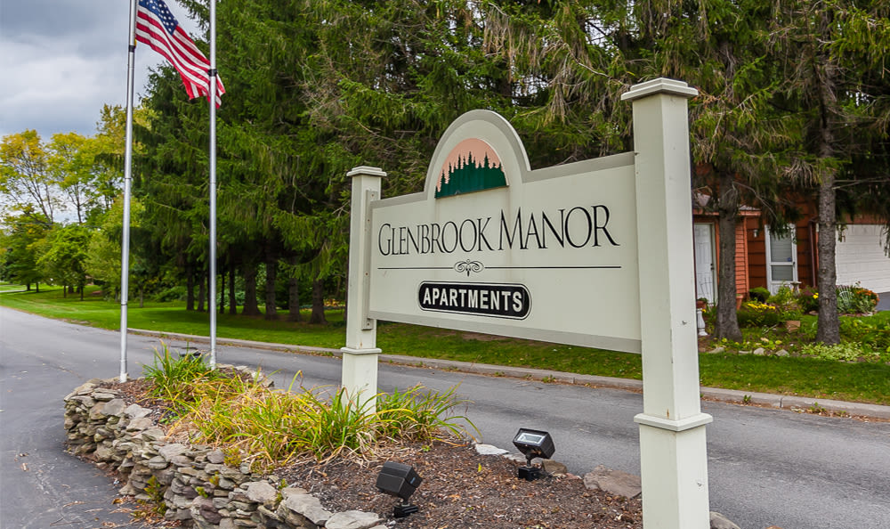 Sign to Glenbrook Manor in Rochester, New York