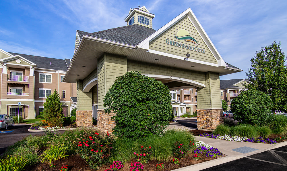 Lush landscaping at Greenwood Cove Apartments in Rochester, New York