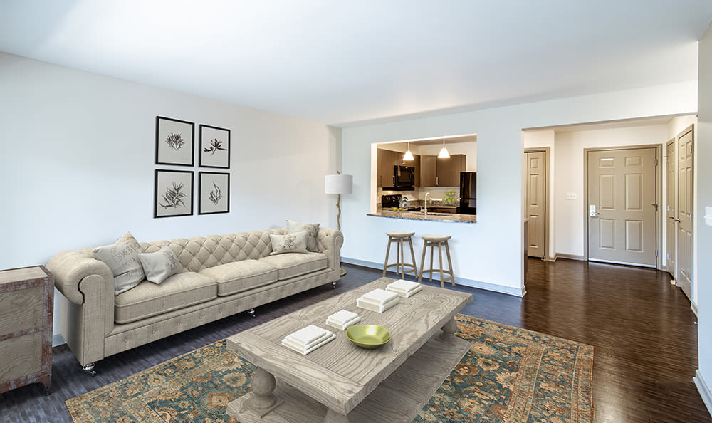 Greenwood Cove Apartments offers a spacious living room in Rochester, New York