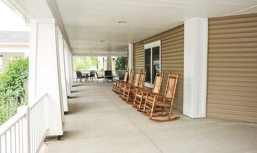 Outdoor patio at Greenwood Cove Apartments in Rochester, New York