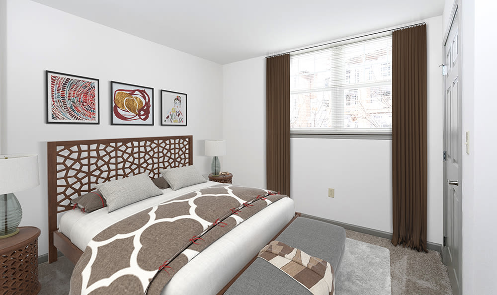 Large master bedroom at Greenwood Cove Apartments in Rochester, New York
