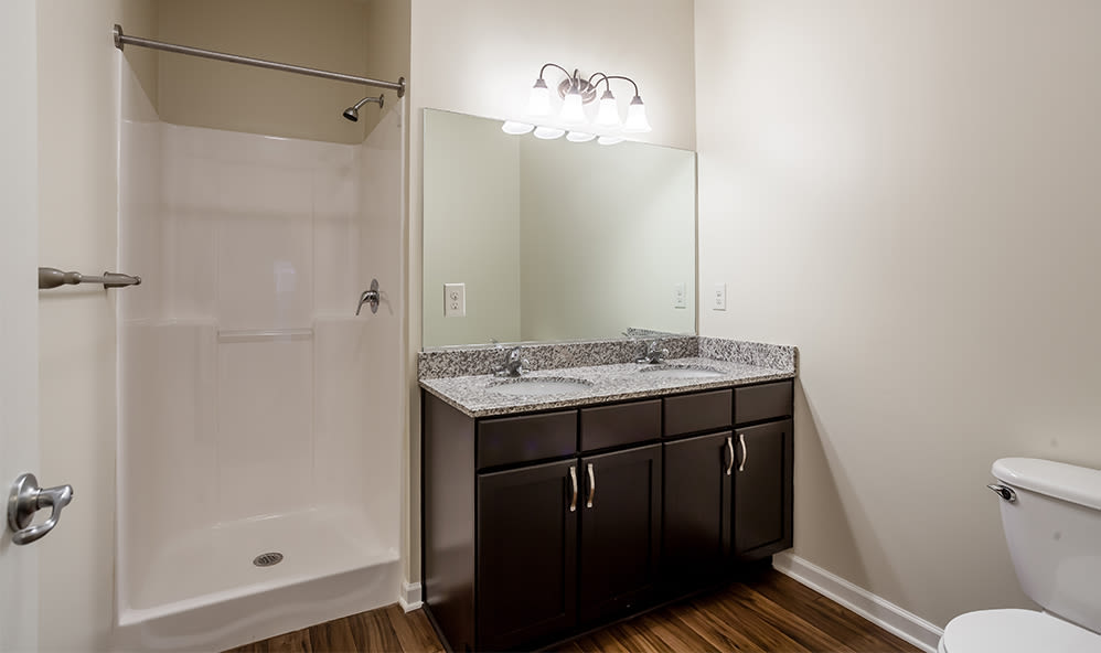 Bathroom at Ethan Pointe Apartments home in Rochester, New York
