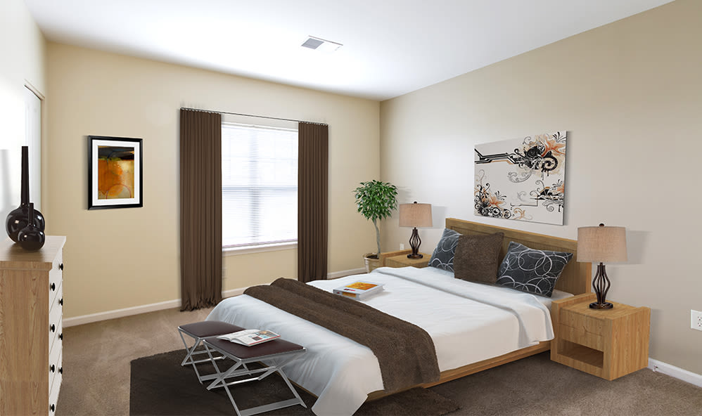Ethan Pointe Apartments offers a luxury bedroom in Rochester, New York