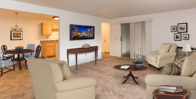 Spacious modern living room at Henrietta Highlands in Henrietta, New York