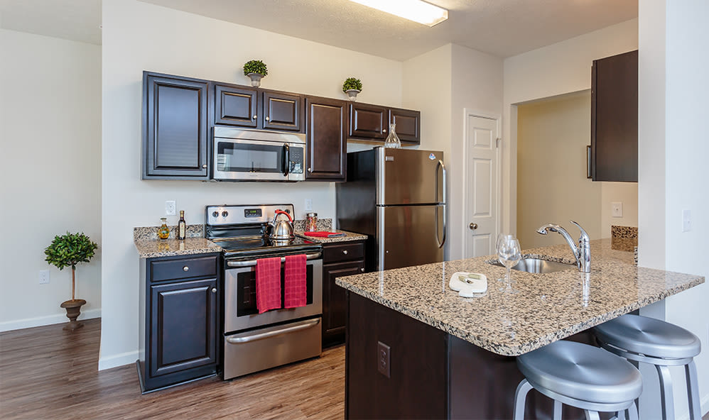 Modern kitchen at Auburn Creek Apartments in Victor, New York