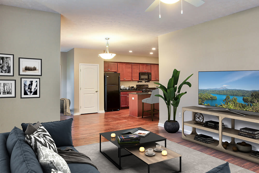 Kitchen and living room view at Gateway Landing on the Canal in Rochester, New York
