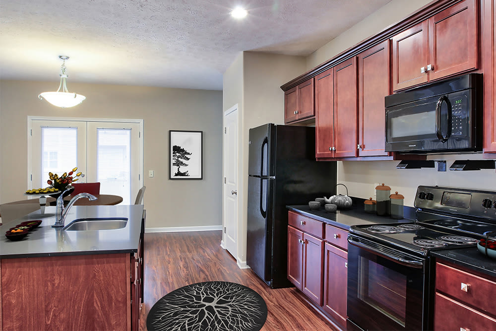 Beautifully designed kitchen at Gateway Landing on the Canal in Rochester, New York