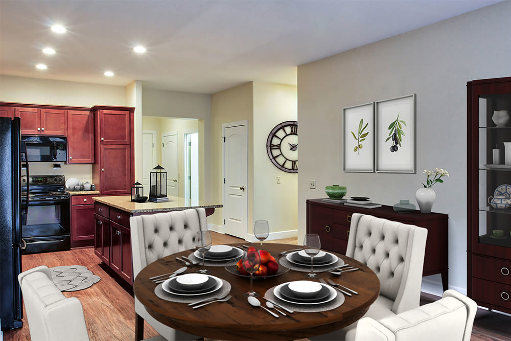 Bright, beautiful kitchen at Gateway Landing on the Canal in Rochester, New York