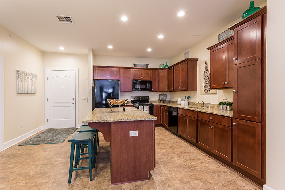 Modern kitchen at Gateway Landing on the Canal home in Rochester, New York