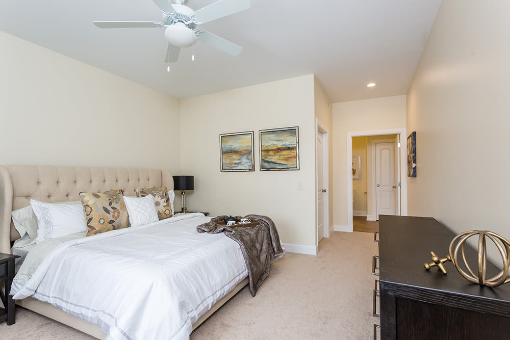 Cozy bedroom at Gateway Landing on the Canal home in Rochester, New York