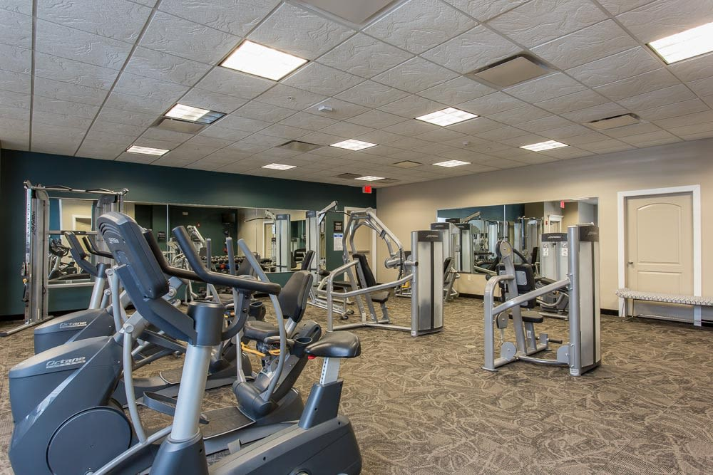 Modern fitness center at Gateway Landing on the Canal in Rochester, New York