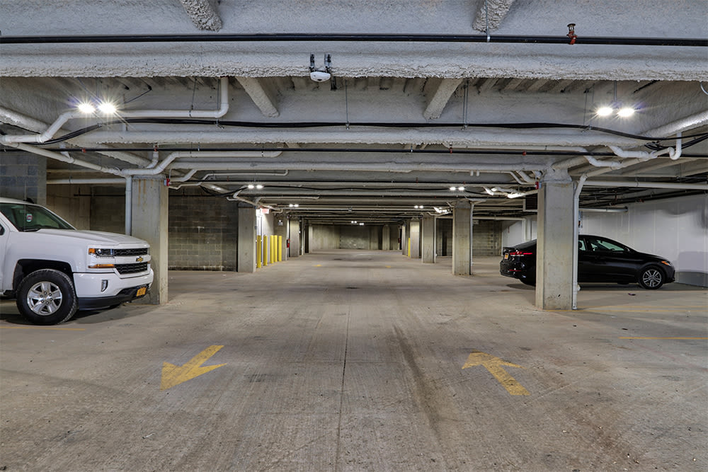 Parking garage at Gateway Landing on the Canal in Rochester, New York