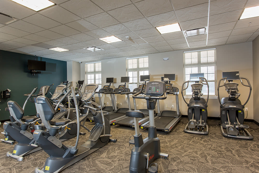 Fully equipped fitness center at Gateway Landing on the Canal in Rochester, New York