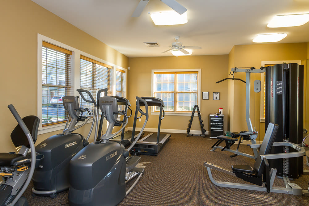 Fitness center at North Ponds Apartments in Webster, New York