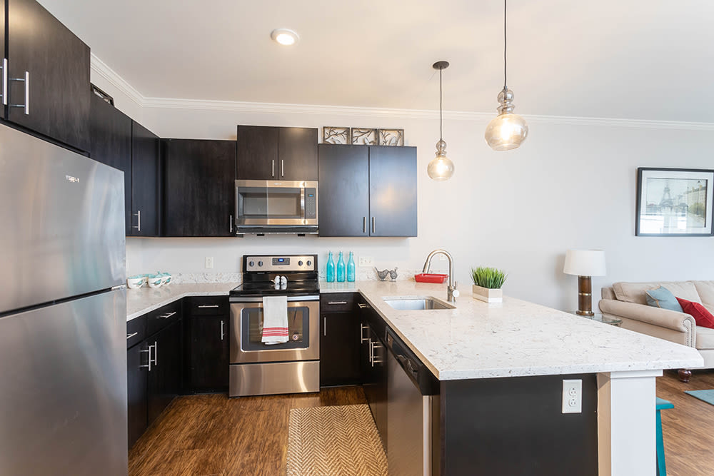 Modern kitchen at North Ponds Apartments in Webster, New York