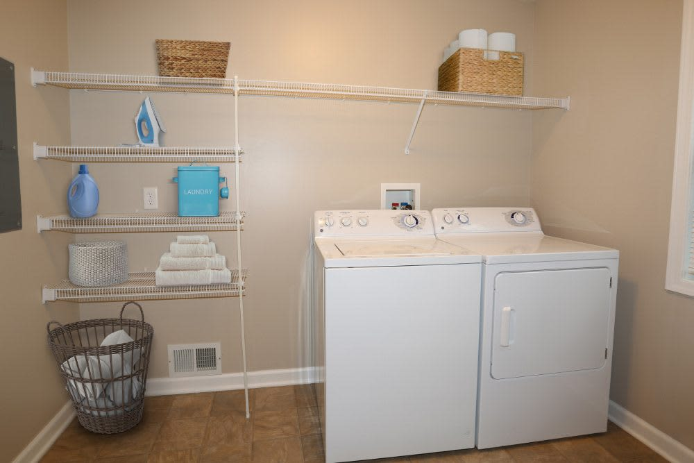 Washer and dryer at North Ponds Apartments in Webster, New York