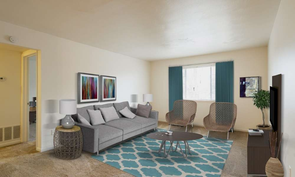 Bright, cozy living room at Imperial North Apartments in Rochester, New York
