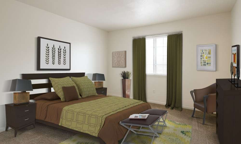 Master bedroom at Imperial North Apartments in Rochester, New York