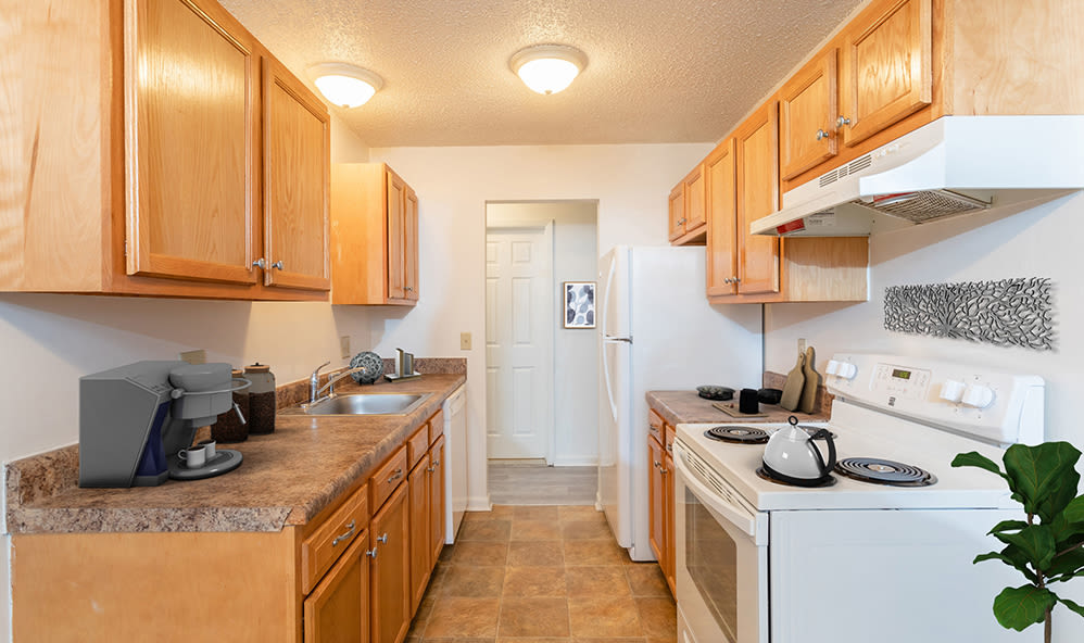 Well-equipped, spacious kitchen at Knollwood Manor Apartments in Fairport, New York