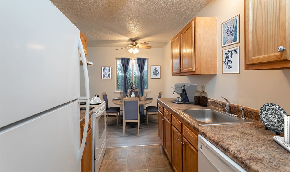Ample kitchen space at Knollwood Manor Apartments in Fairport, New York