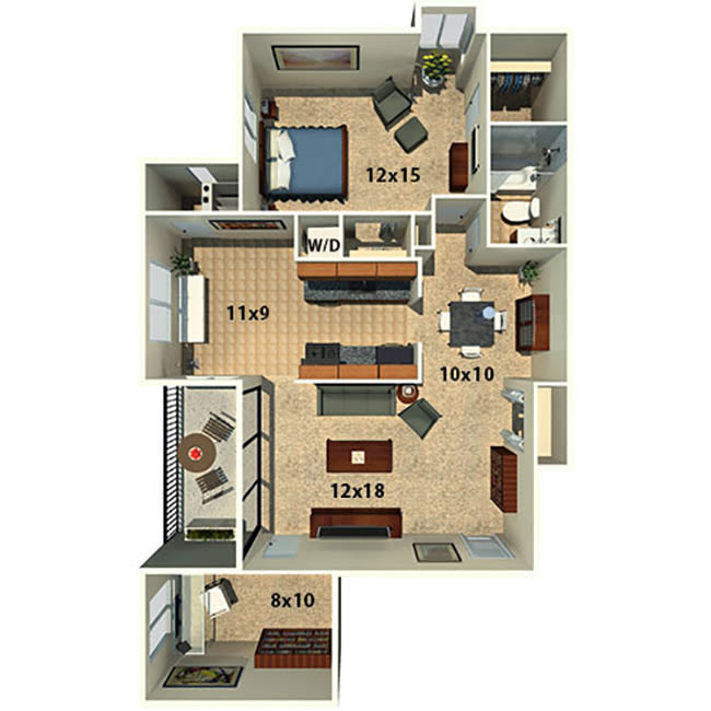 One bedroom one bath with a den alternate floor plan at The Timbers at Long Reach Apartments in Columbia, Maryland