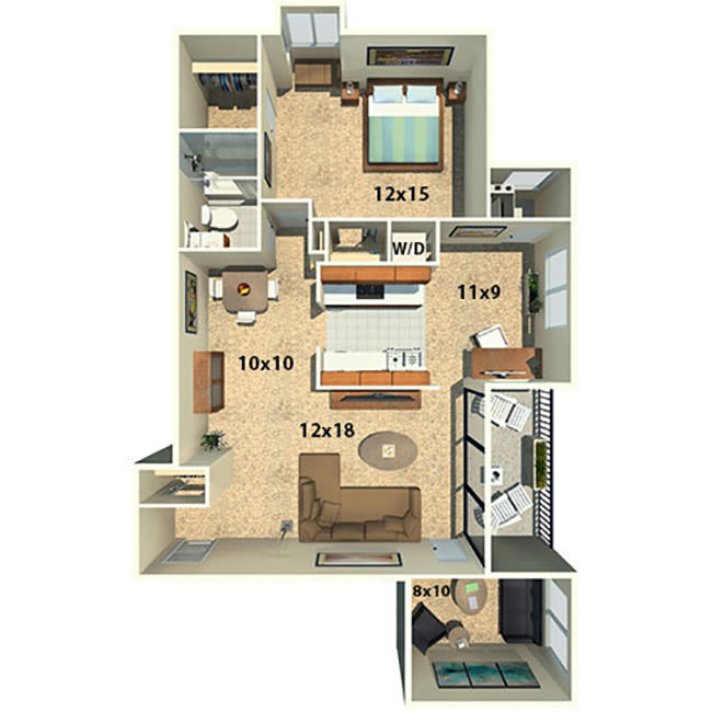 One bedroom one bath with a den floor plan at The Timbers at Long Reach Apartments in Columbia, Maryland