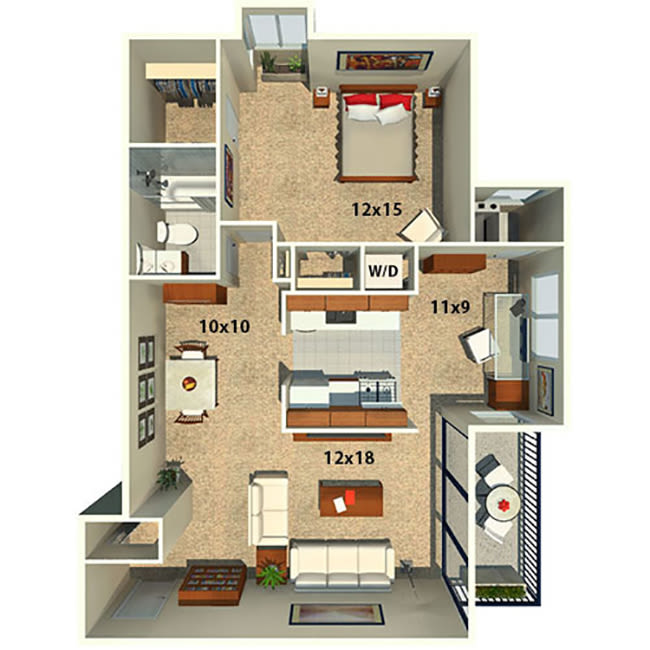 One bedroom one bath floor plan at The Timbers at Long Reach Apartments in Columbia, Maryland