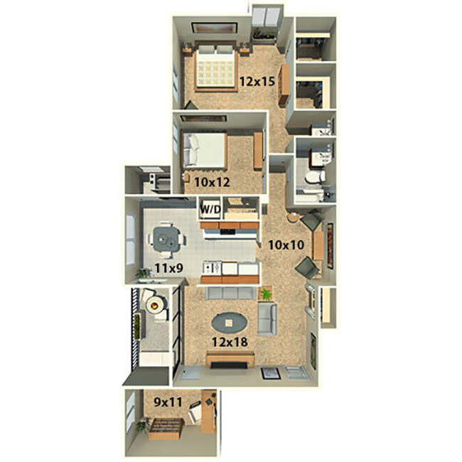 Two bedroom one bath with a den floor plan at The Timbers at Long Reach Apartments in Columbia, Maryland