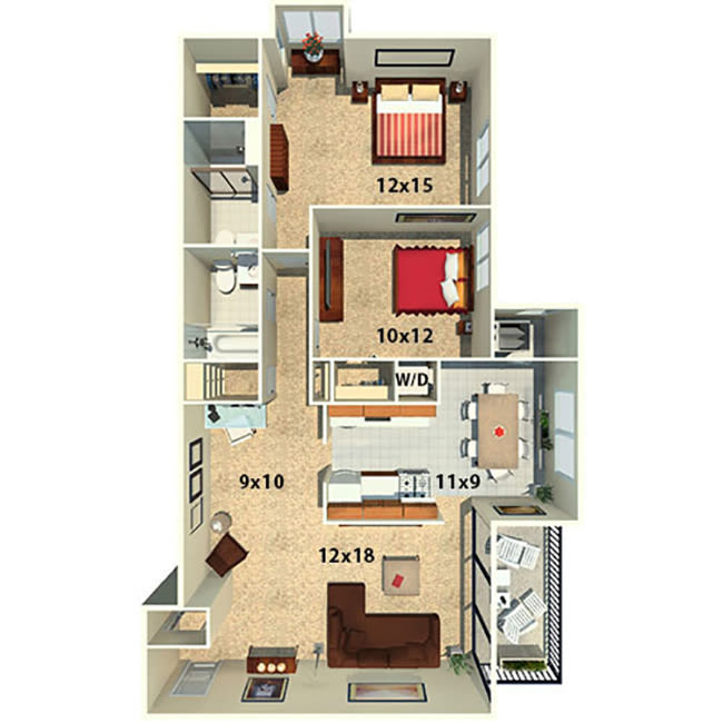 Two bedroom two bath floor plan at The Timbers at Long Reach Apartments in Columbia, Maryland