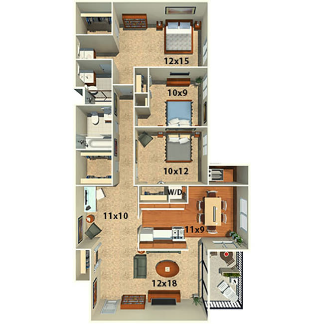Three bedroom two bath floor plan at The Timbers at Long Reach Apartments in Columbia, Maryland