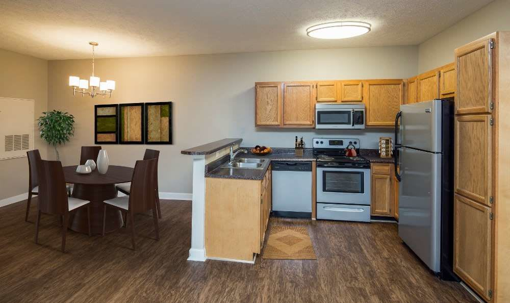Upgraded kitchen at Main Street Apartments in Huntsville, Alabama