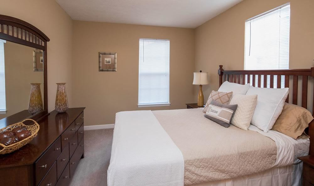 Beautifully decorated bedroom at Main Street Apartments home in Huntsville, Alabama
